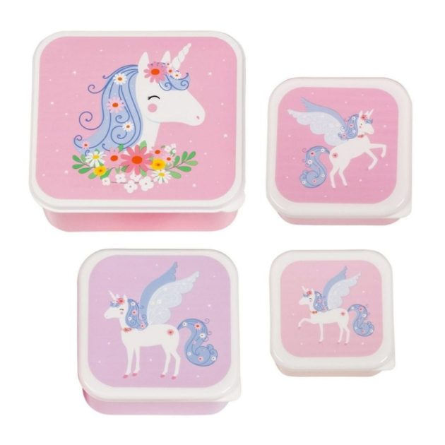 A little lovely company Σετ 4 δοχεία φαγητού Lunch & Snack Box Unicorn